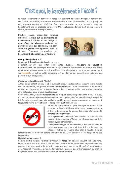 Bevorzugt 21 best FLE: Violence à l'école images on Pinterest | Sleep  KS11