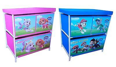 Kids Toy Storage 3 Drawer Cabinet Paw Patrol Girls Boys Pink Blue
