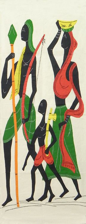 Hunter Family - (Wall Hanging) (Applique Work on Cotton Cloth))