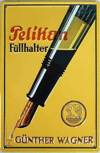 Pelikan-Fuellhalter-Blechschild-20-x-30-cm-gewoelbt-Motiv-gepraegt