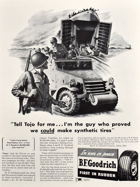 1943 Bf Goodrich Tires Ad Retroreveries Vintageads In 2020 Old Time Photos Vintage Ads Military Memorabilia