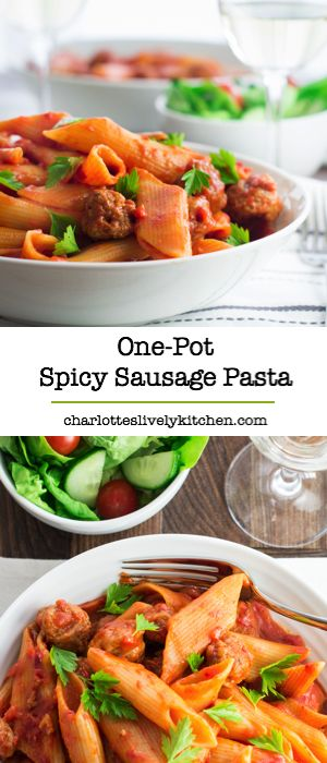 One-pot spicy sausage pasta – really simple to make and half the washing up of regular pasta.