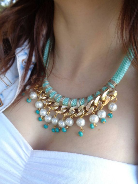 Pastel mint Statement  Rope Necklace / Rope Necklace by Candybarrr