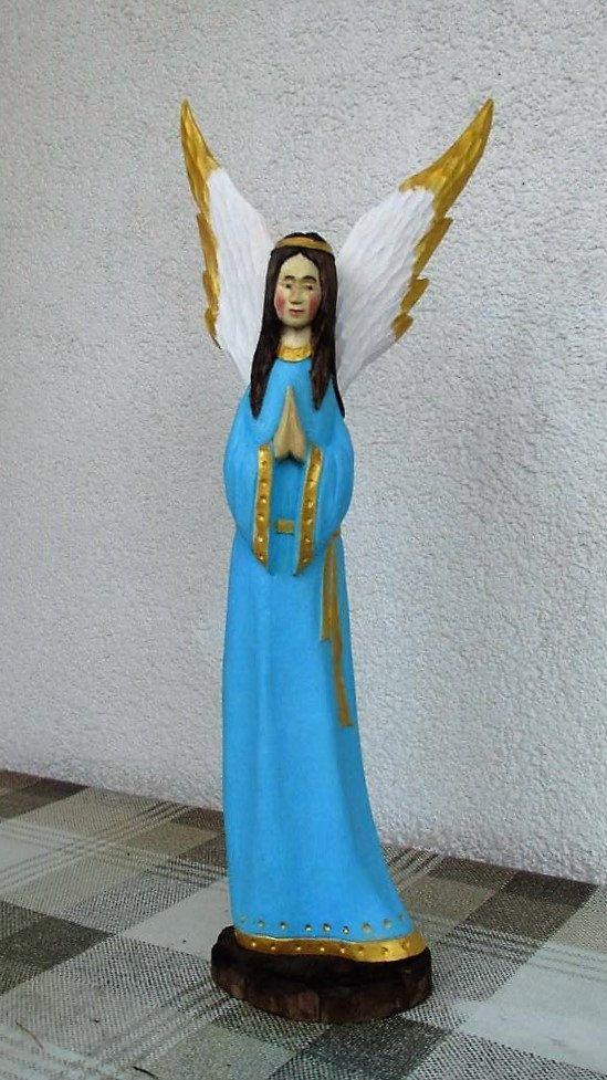 Wooden Angel Wood Carved Angel Angel Statue Angel Figurine Christmas Angel