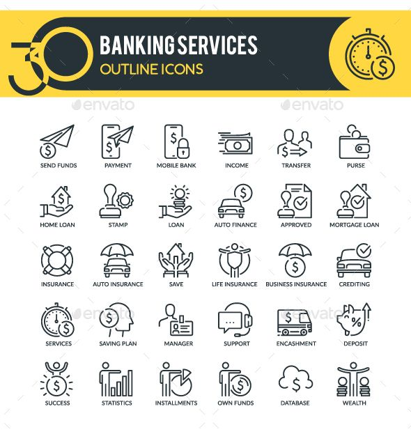 Banking Services Outline Icons Banking Services Financial Freedom Quotes Banking