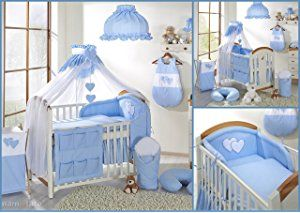 7 pcs Nursery Set/Bumper/Canopy/Covers/Canopy holder to fit BABY COT BED (140x70cm) BLUE