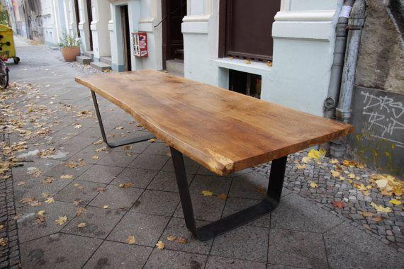 SLAB OAK TABLE: Large Solid Oak Tabletop on Steel u-Frame Legs, 12 Person Rustic Live Edge Dining Room Table, All Handmade and Customizable