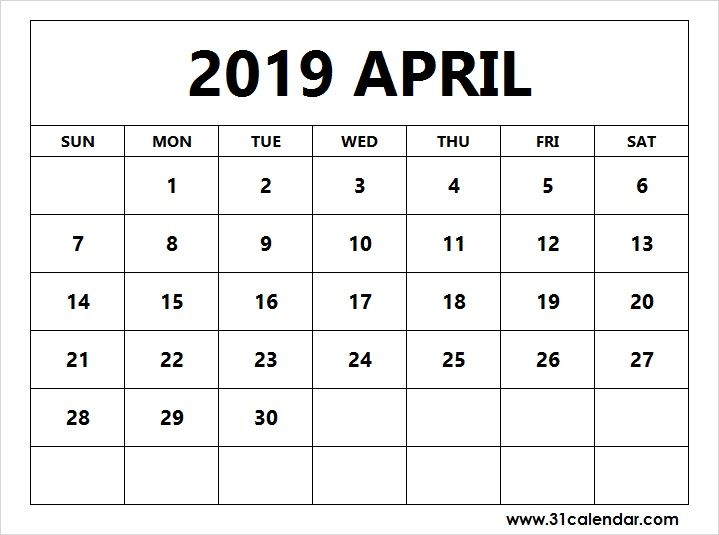 Blank Calendar 2019 April Free Printable Template With Images