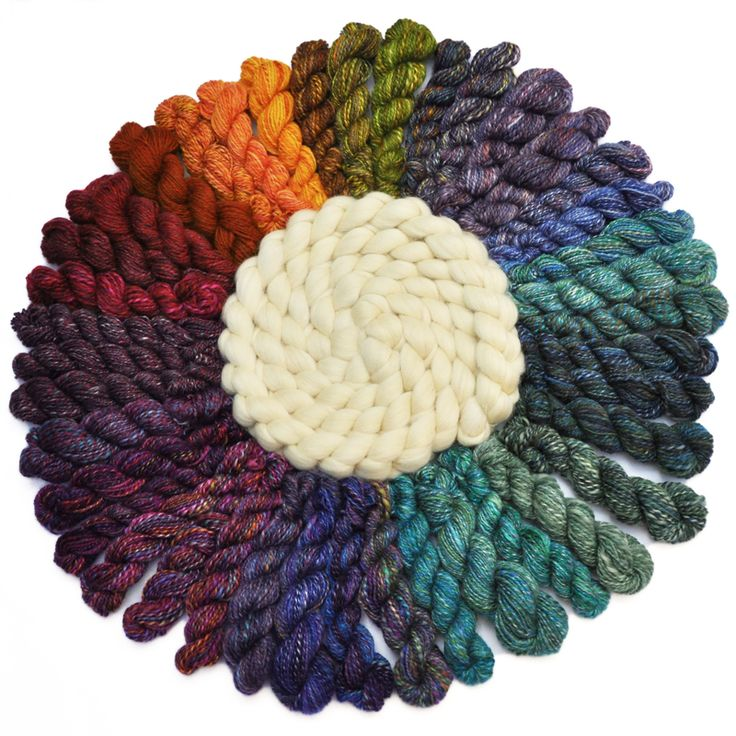 A flower of handspun yarn