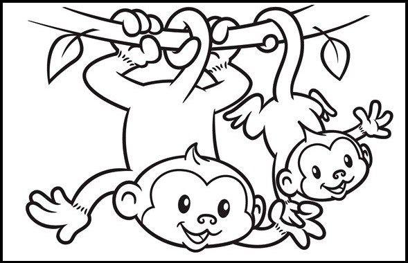 2 Cute Monkey Cartoon Coloring Sheet Monkey Coloring Pages Coloring Pages Animal Coloring Pages