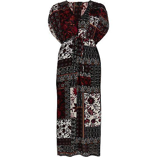 Purple print ruched short sleeve maxi dress