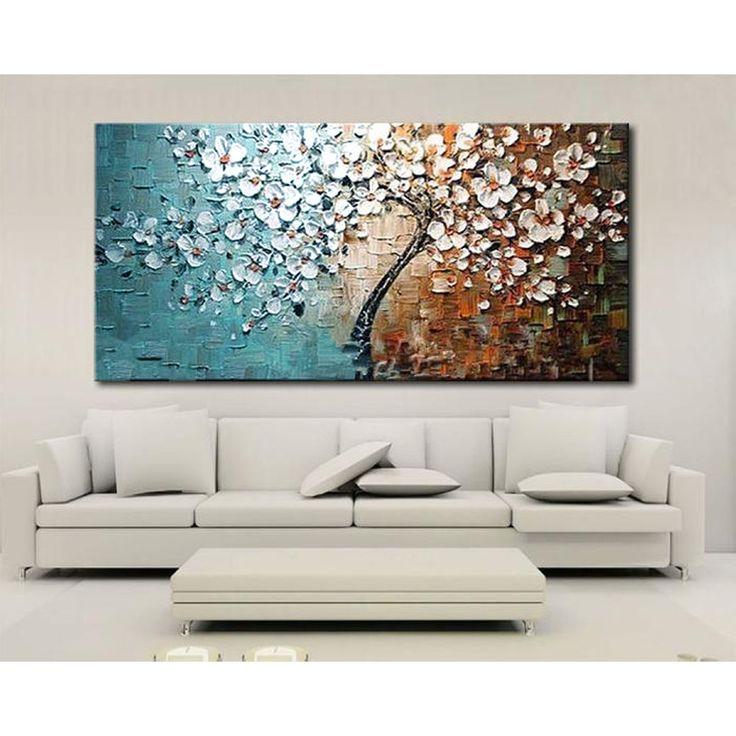 """יד ממוסגרת צבוע סט פרח עץ בד ציור ציורי שמן בד לסלון בית משרד אמנות תמונה 60*120 ס""""מ(China (Mainland))"""