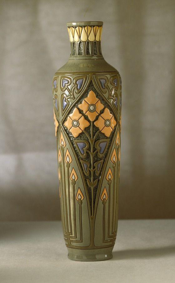 Roseville - Della Robbia - Frederick Hurton Rhead - Tall Vase - Ca. 1906 -