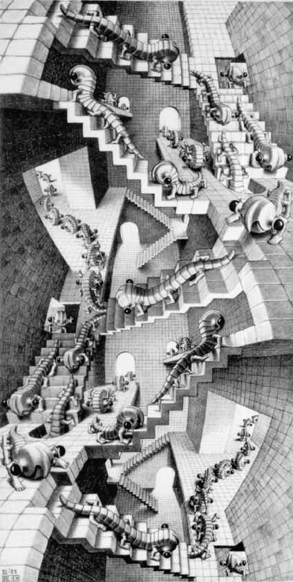 <p>Lithographie de ESCHER, figurant une cage d'escaliers accédant les uns aux autres à l'infini...un rêve</p> -   JPEG - 98.3ko
