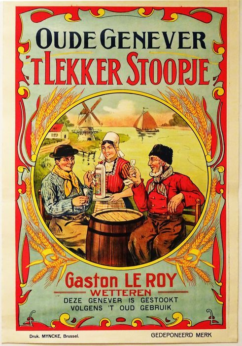 Oude Hollandse reclameposters  Anonymous - 'Oude Genever 't Lekker Stoopje' - ca. 1910