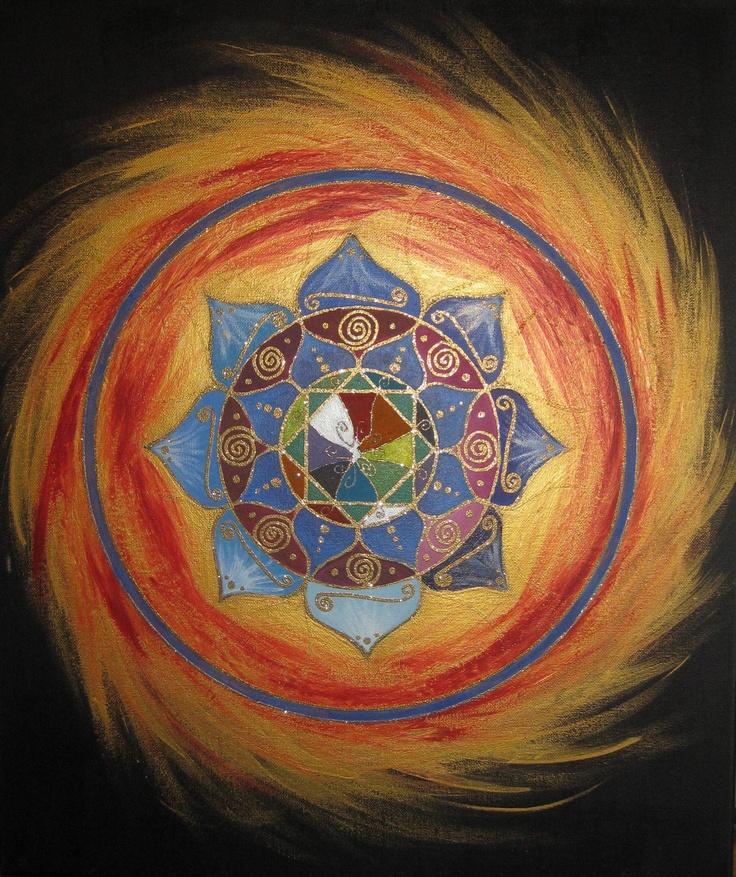 """Uncertainty"" ~ Artwork by Sharon Morgan. acrylics on canvas #mandala #flowermandala #goldmandala"
