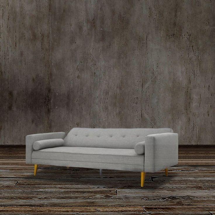 Midcentury Modern Sleeper Sofa Bed Contemporary Gray Grey Couch Studio Futon #ContemporaryMidCenturyModernFurniture