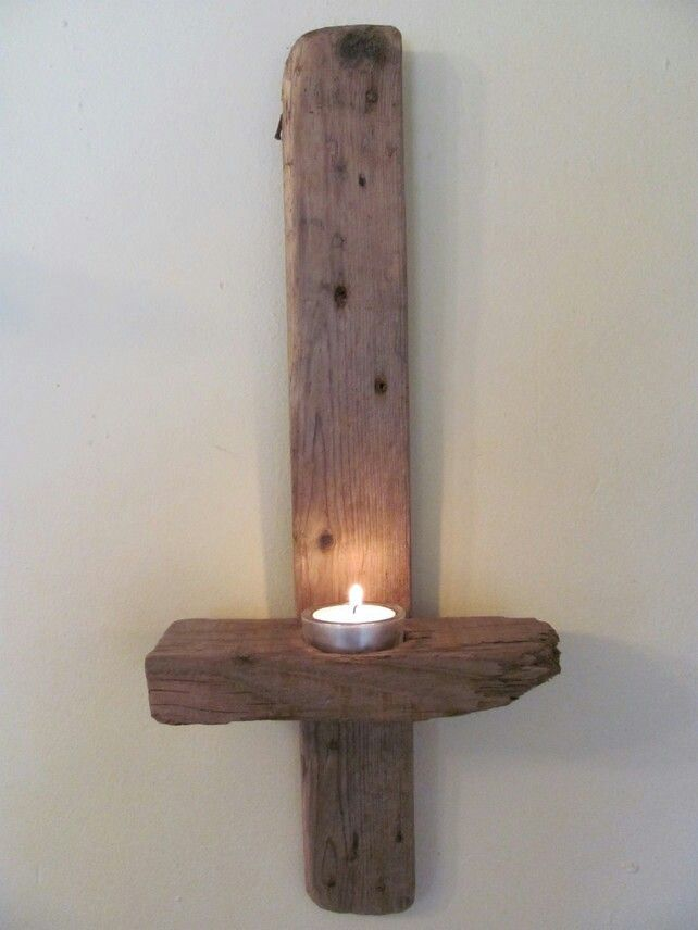 driftwood wall candle sconce