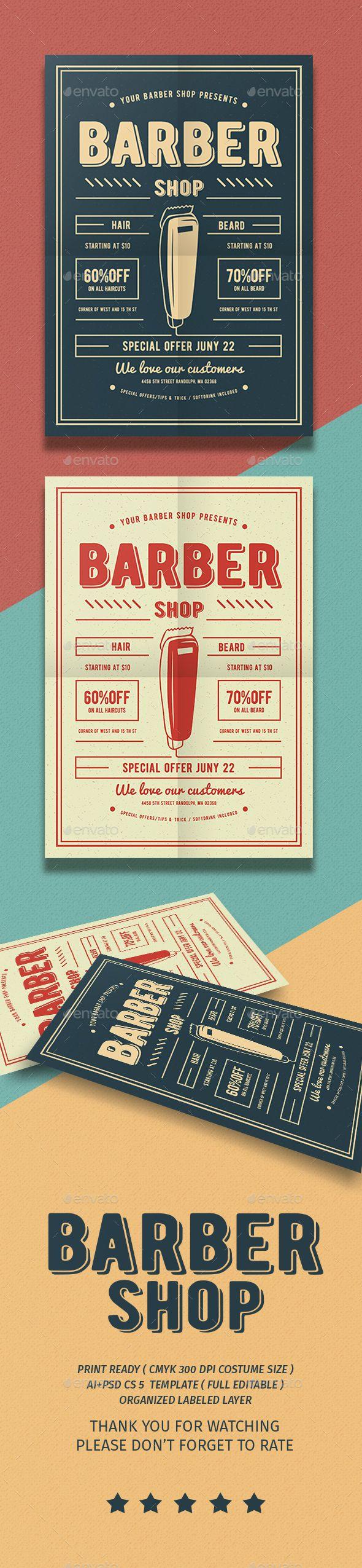 barber shop flyer flyer template flyers and shops. Black Bedroom Furniture Sets. Home Design Ideas