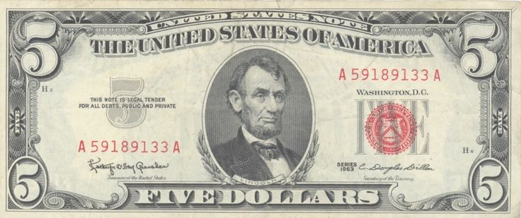 US 5 dollar US note