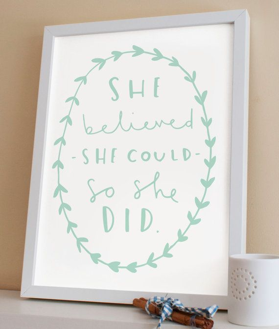 """8x10"""" Motivational Typography Print - She believed she could so she did quote print - typography poster - inspirational wall art"""