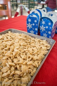 Sugar Cookie Chex Mix - Prefect Sugary Treat to Feed The Elves ... Rice Chex, Corn Syrup, White Chocolate Chips, Vanilla Extract, Powdered Sugar, Sprinkles ... with all the Sugar in this recipe, at least it's Gluten Free :o)