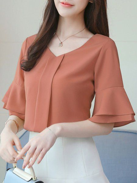 468bda84fd9 Online Shopping V-Neck Frill Sleeve Solid Beaded Chiffon Blouse