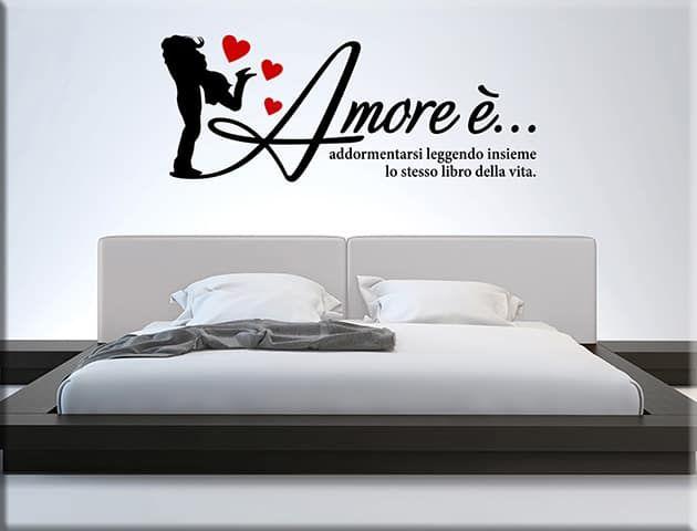 Adesivi murali frase amore arredo letto ws1339 nel 2019 for Arredi murali