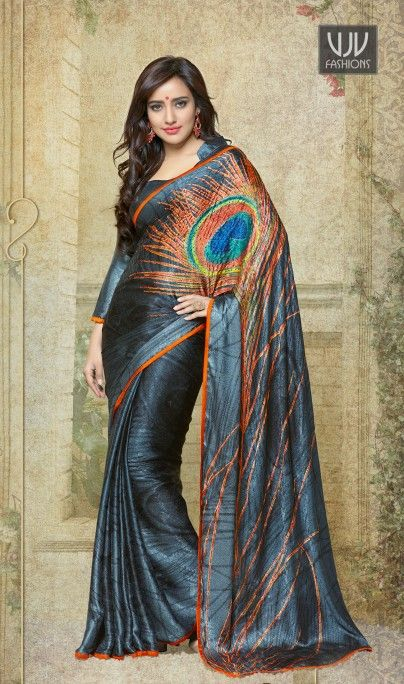 Neha Sharma Grey Silk Crape Casual half n half Saree Neha sharma grey silk crape half n half casual saree with print and patch border work. Available with blouse fabric which can be customized as per your style or pattern; subject to fabric limitation.