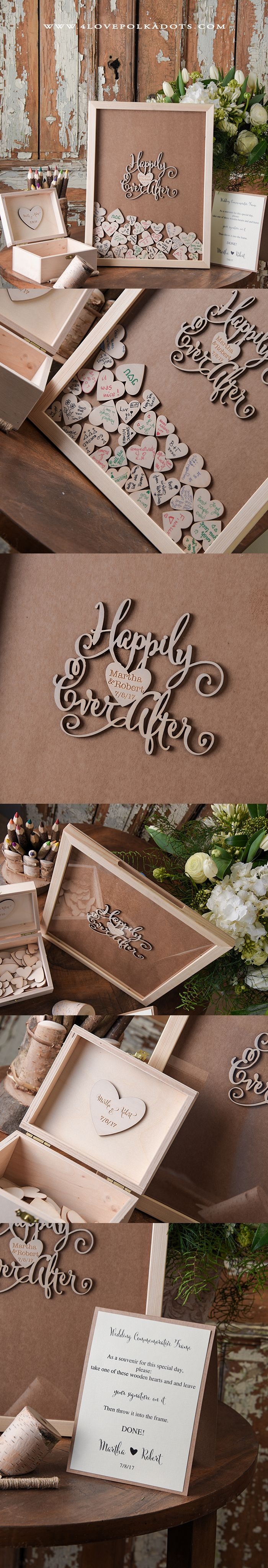 Happily Ever After ! Alternative Wooden Wedding Guest Book Frame #weddingideas #countrywedding #rustic #realwood