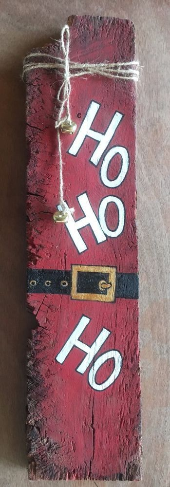 Ho, Ho, Ho, Christmas sign,Handpainted Reclaimed Wood Sign #Unbranded