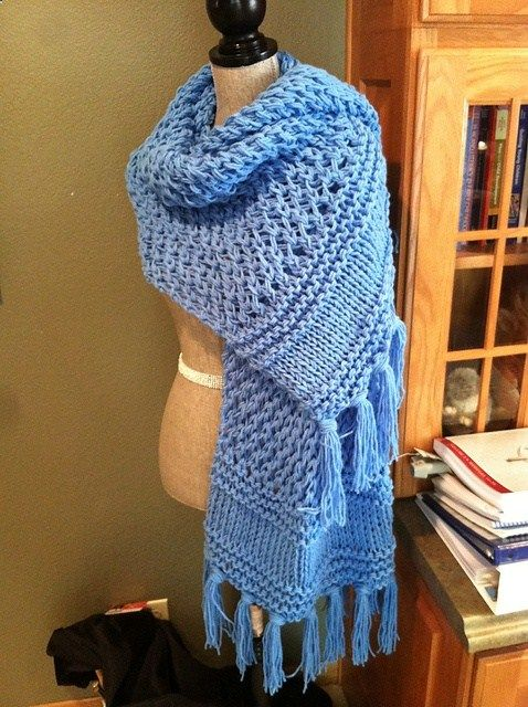 3 Plus 12 prayer shawl. 3 = Father, Son, and Holy Spirit (found in borders) and 12 bundles of fringe on each end for Christs Disciples. FREE pattern on Ravelry