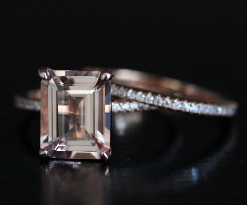 Morganite Engagement Ring Diamond Wedding Band Set 14k Rose Gold Morganite Emerald Cut 10x8mm and Diamond Half Eternity Ring
