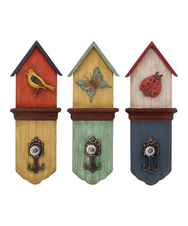 Birdhouse wall hooks. I like the colors.  sc 1 st  Pinterest & Best 35 Home Decor images on Pinterest   For the home Home ideas ...