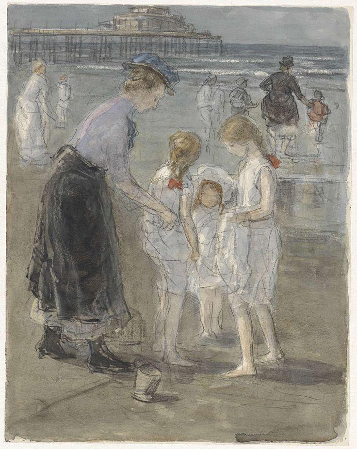 Kindermeisje met drie meisjes op het strand van Scheveningen, Johan Antonie de Jonge, 1874 - 1927