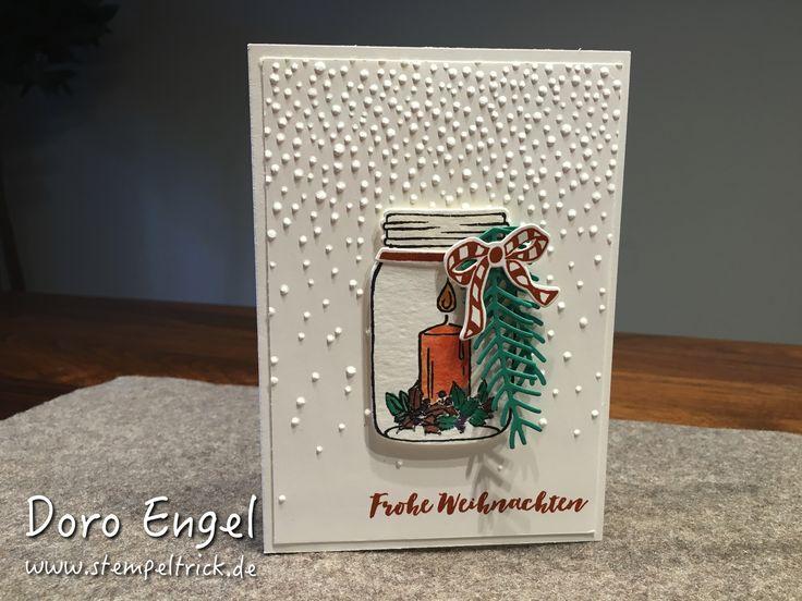 Stampin Up! Card, Christmas, Jar of Cheer, Softly Falling Textured Embossing Folder, Christmas Pines, Emerald Envy, Elegant Eggplant, Cajun Craze, Peekaboo Peach, Dapper Denim