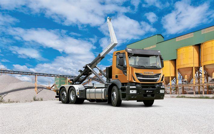 Download wallpapers IVECO Stralis X-WAY, 2017, Truck crane, new trucks, IVECO