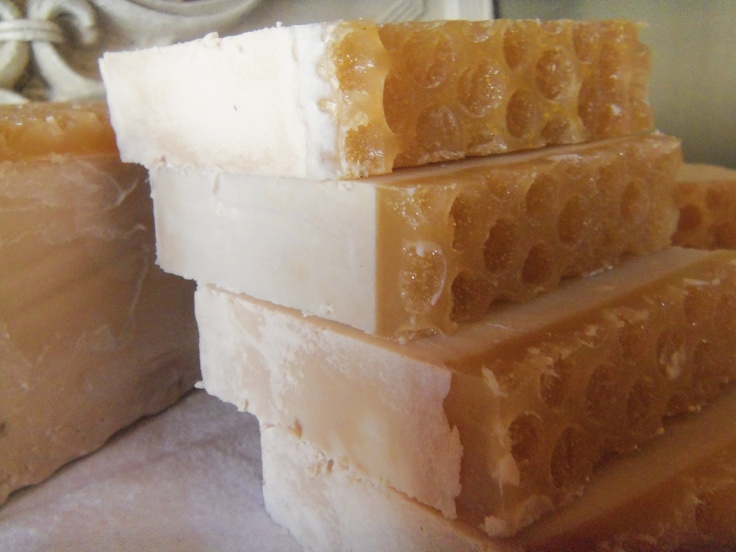 Honeycomb Soap, could be a bee party favor. Made of oatmeal milk n honey, vegan friendly castile by hillsnaturalsoap