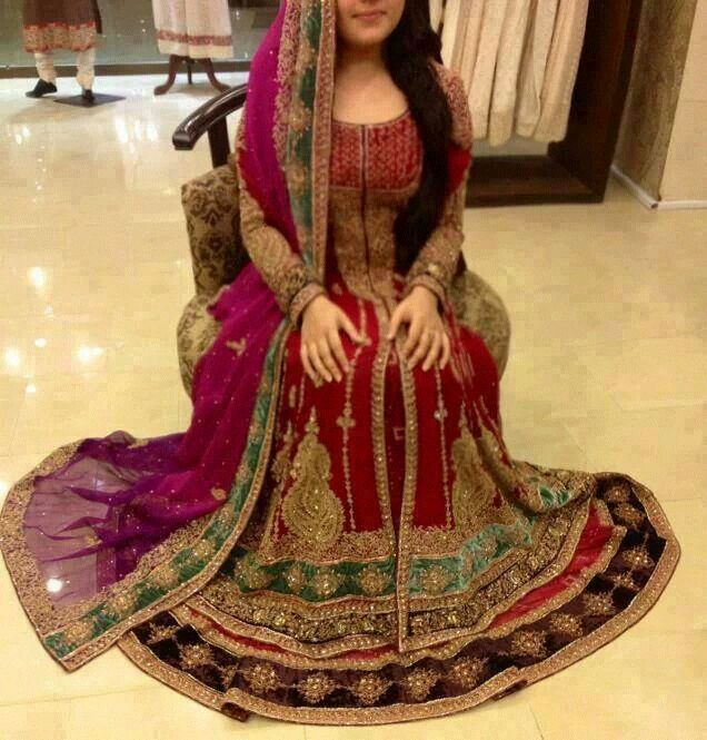 Red and purple shade lehnga for brides
