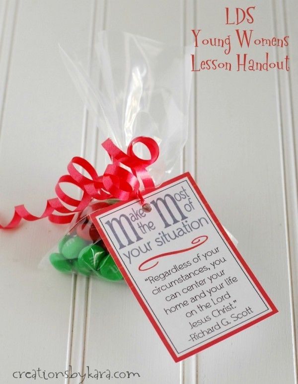 Free printable LDS Young Women lesson handout: Christ Centered Home- with M&M candies!