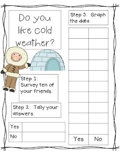 Math poll and tally printable activity for winter #math #mathematics #classroom #kindergarten #survey #classroom