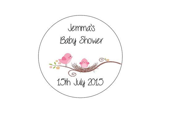 30 Round Personalised Baby Bird Baby Shower by PrintedRibbon4U