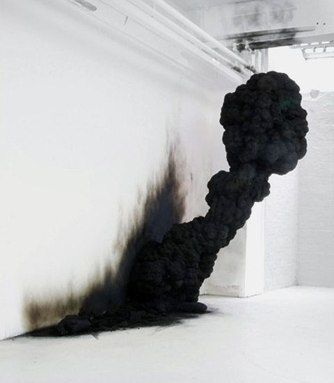 Spontaneous Combustion(2009) installation made out of resin and soot by Polish sculptor Olaf Brzeski.
