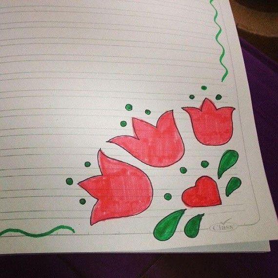 رسومات تزيين دفاتر المدرسة للبنات سهله وكيوت تزيين الكراسات بالعربي نتعلم Paper Art Design Colorful Borders Design Floral Border Design