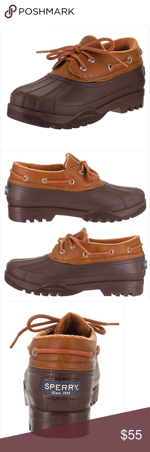 Sperry Top Sider Duck Waterproof Shoes Boots 6.5 7 Amazing Sperry Top Sider rubber duck boots shoes in brown cognac. Stay dry & cute in these waterproof leather & rubber shoes. Lace up closure for secure fit & thick rubber soles with great traction. Perfect in snow or rain!  True to size NEW Without Tags/Box 6.5 7 Sperry Top-Sider Shoes Winter & Rain Boots