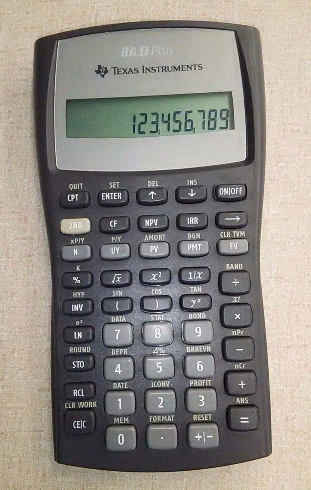 Texas Instruments BAII Plus Financial Calculator Finance
