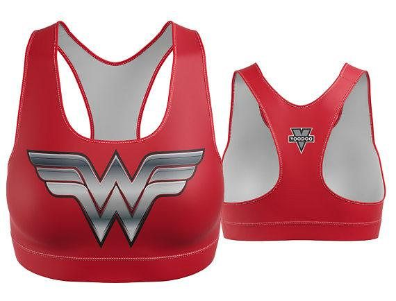Custom Wonder Woman Sports Bra Red with Silver Breastplate | Yoga Bra | Women's Bra | Yoga Top | Gym Bra | Yoga Wear | Gym Bra | Exercise Bra | Workout Top | Bikini Top | Plus Size Bra | Bra | SportsBra | Work Out Bra | Gym Wear | Super Hero Bra | Bikini Top Made in the USA. -Custom Sports Bra designed, printed, cut and sewn to order in Phoenix, AZ -Great gift for her -82% Polyester / 18% Spandex blend. -4 way stretch which means fabric stretches and recovers both on the cross and length...