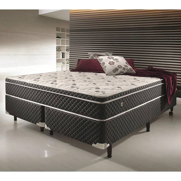 Conjunto Cama Box King Size Soft Comfort Preto - Antiácaro, Antifungo e Antialérgico - 193x203x48cm