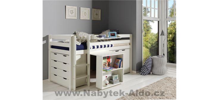 Dětská postel z masivu v bílém provedení