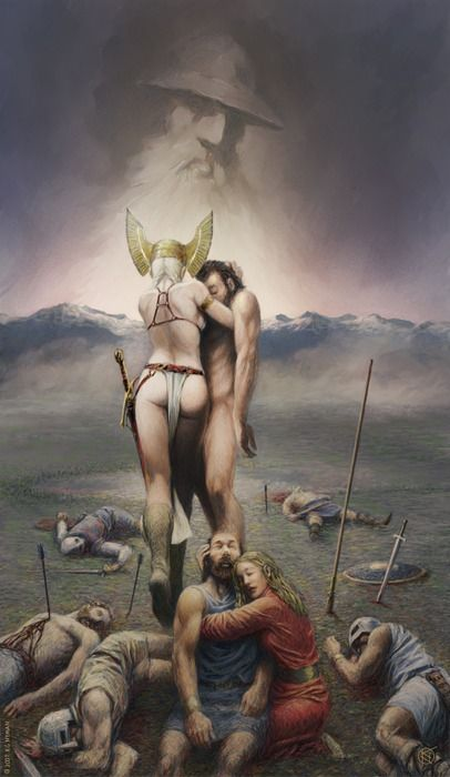 The Legend/Myth of the Valkyrie.  A warrior Angel who took those fallen in battle to sit beside Odin in Valhalla.  I've always loved this.